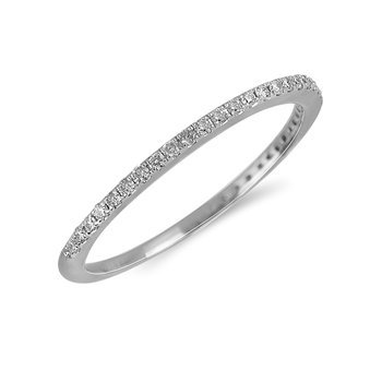 14K WG Diamond almost eternity Band in Prong Setting. 1/6 Cts.
