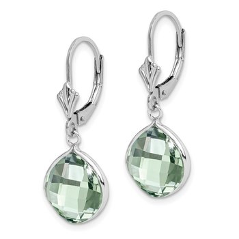 Sterling Silver Rhodium-plated Green Quartz Dangle Lever Back Earrings