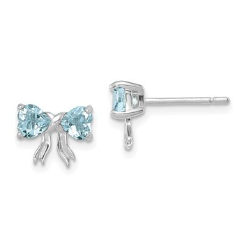 14k White Gold Polished Aquamarine Bow Post Earrings