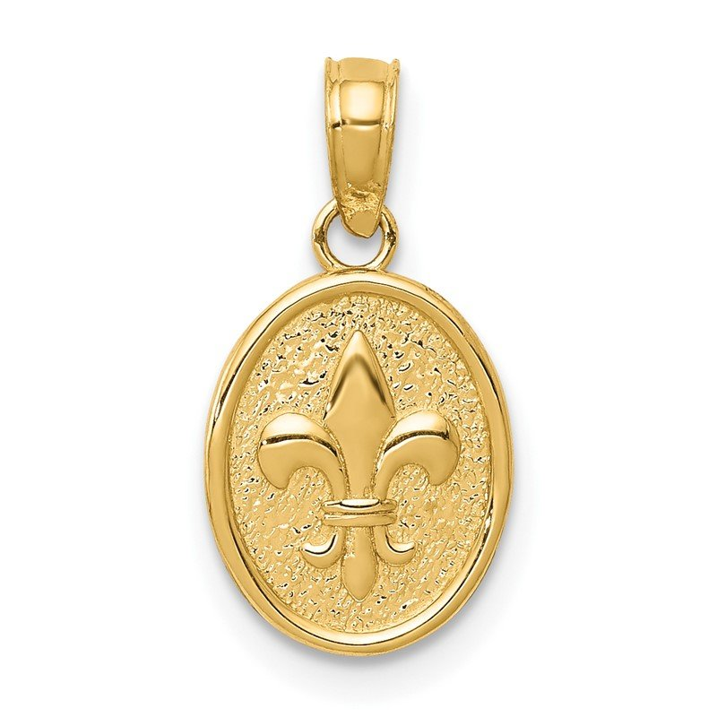 Quality Gold 14k Polished Small Fleur De Lis in Oval Pendant