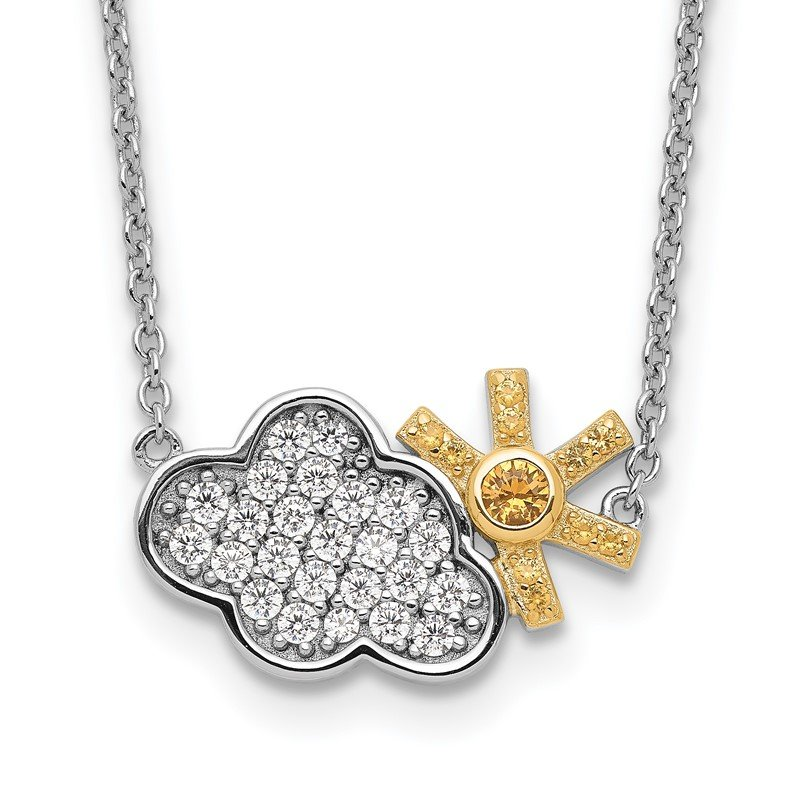 Sterling Silver RH-plated Gold-tone CZ Cloud w/Sun 2in ext Necklace