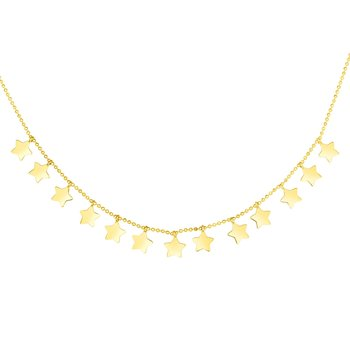 14K Gold Star Dangle Necklace