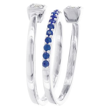 Sterling Silver Created Sapphire and 1/10ct Diamond Swirl Ring
