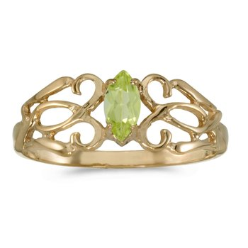 14k Yellow Gold Marquise Peridot Filagree Ring