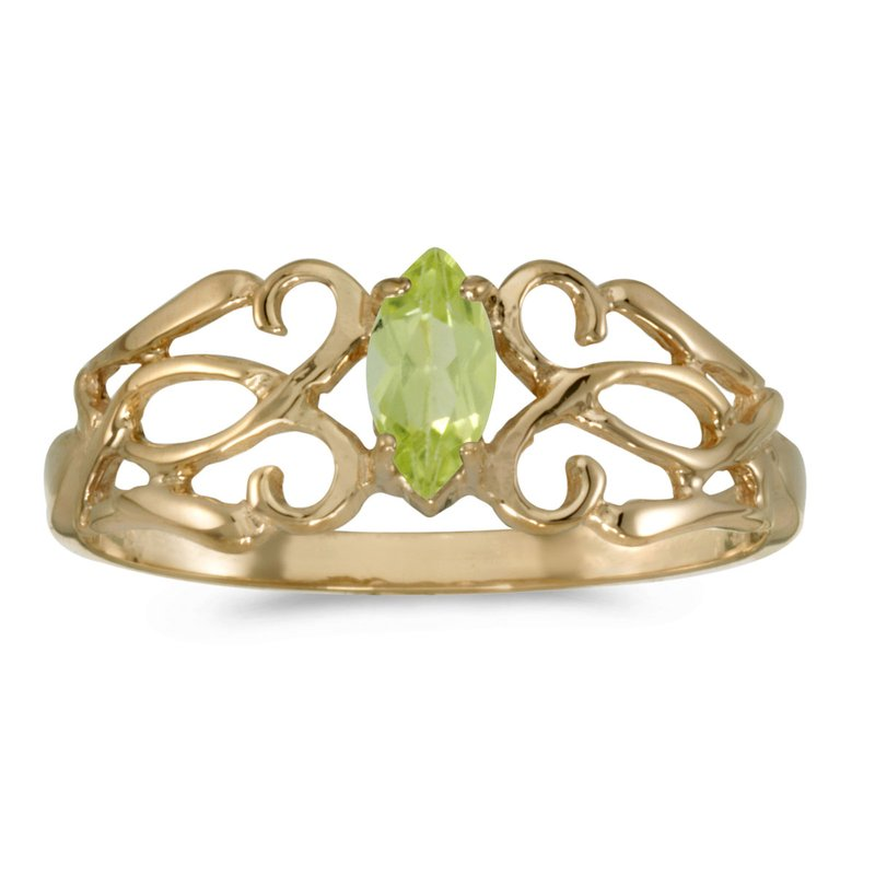 Color Merchants 14k Yellow Gold Marquise Peridot Filagree Ring