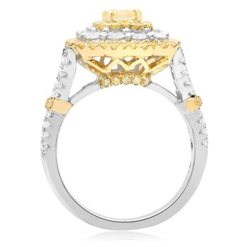 Flowering Cushion Cut Diamond Ring