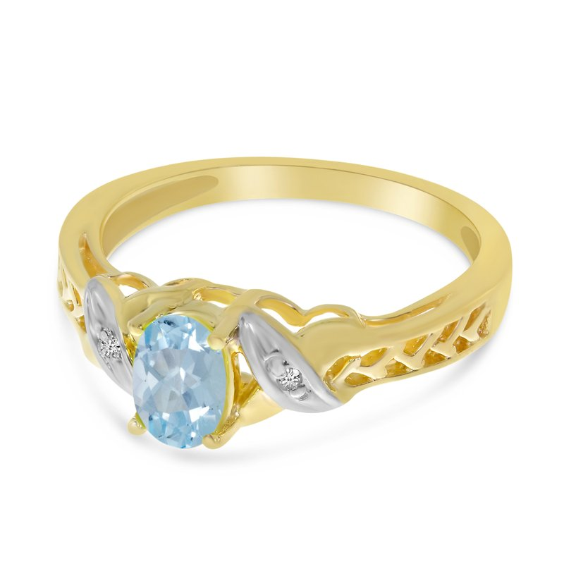 Color Merchants 14k Yellow Gold Oval Aquamarine And Diamond Ring