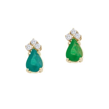 14k Yellow Gold Emerald And Diamond Pear Shaped Earrings