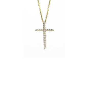 #26574 Of 18Kt Gold Cross Pendant With Diamonds