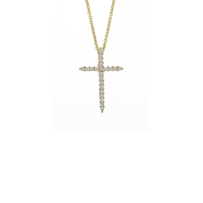Roberto Coin  #26574 Of 18Kt Gold Cross Pendant With Diamonds