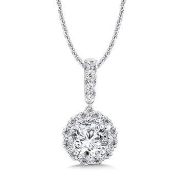 Diamond Round Halo Pendant with Diamond Bale in 14K White Gold (1 ct. tw.)