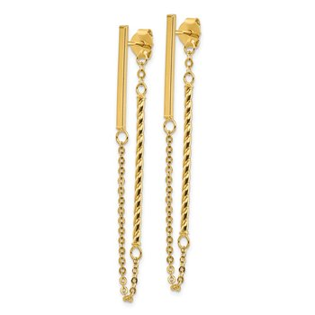 14k Polished and Twisted Bar w/Chain Post Earrings