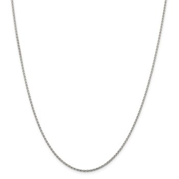 Sterling Silver Rhodium-plated 1.5mm Diamond-Cut Spiga Chain w/2in ext.