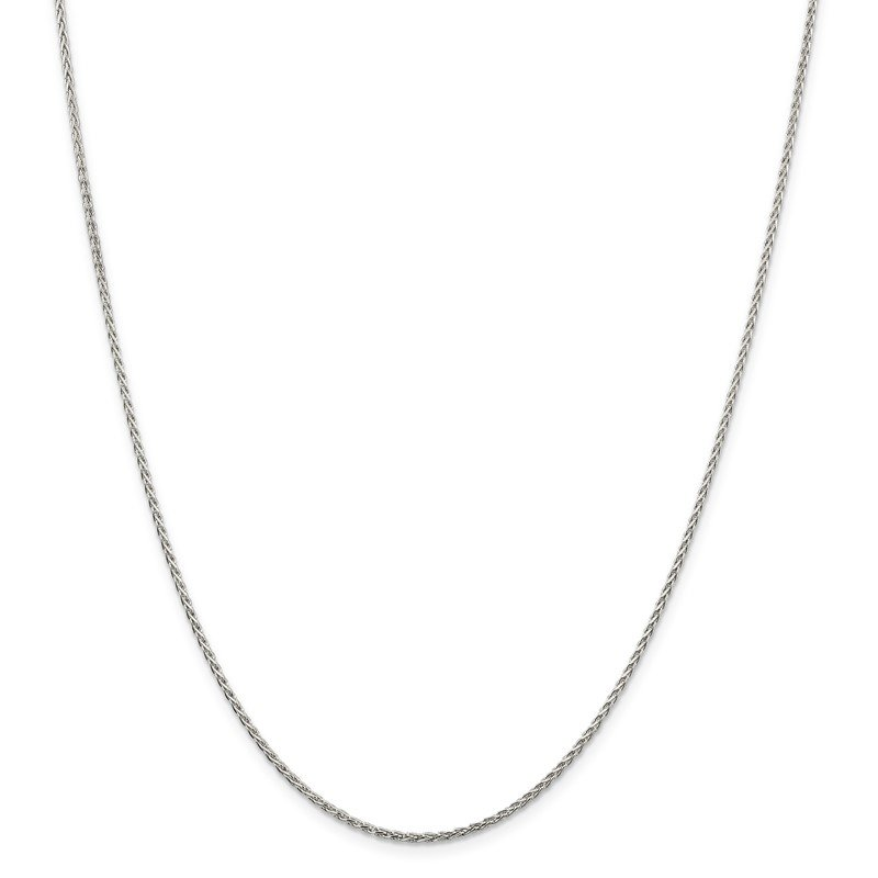 Quality Gold Sterling Silver Rhodium-plated 1.5mm Diamond-Cut Spiga Chain w/2in ext.