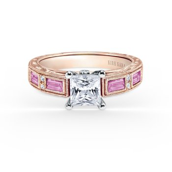 Deco Pink Sapphire Diamond Engagement Ring
