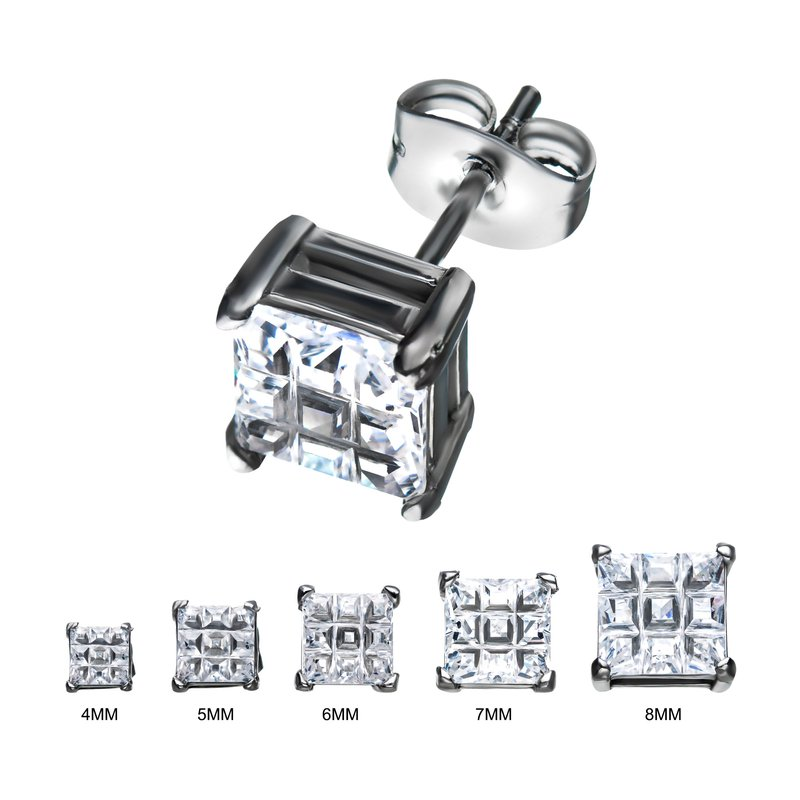 INOX Men's Jewelry Stainless Steel with Hashtag CZ Square Cut Stud Earrings