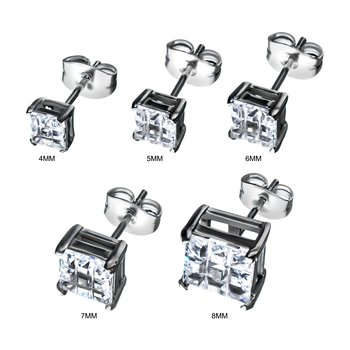 Stainless Steel with Hashtag CZ Square Cut Stud Earrings