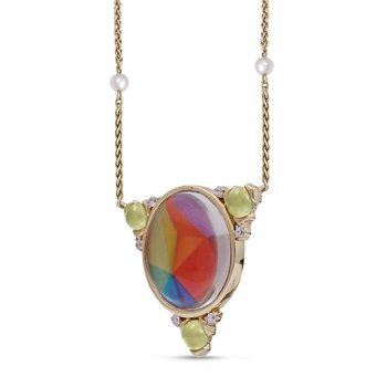 LuvMyJewelry Prehnite & Vibrant Mosaic Sprinkle of Color  Diamond Necklace in Sterling Silver & 14 KT Yellow Gold Plating