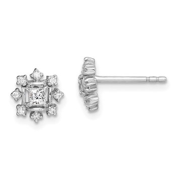 Sterling Silver Rhodium-plated CZ Snowflake Post Earrings