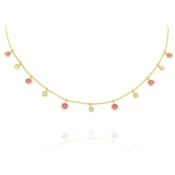 Pink Sapphire & Diamond Dew Drop Necklace Set in 14 Kt. Gold