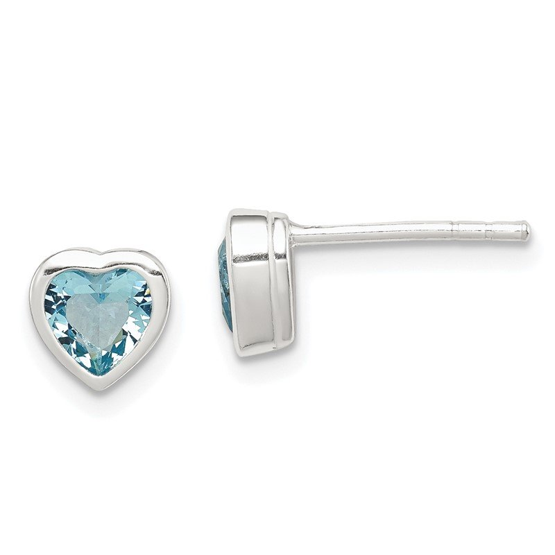 JC Sipe Essentials Sterling Silver Heart-shaped Light Blue CZ Earrings