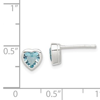 Sterling Silver Heart-shaped Light Blue CZ Earrings