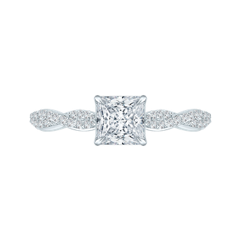 14K White Gold Princess Diamond Engagement Ring with Criss-Cross Shank (Semi-Mount)