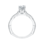 Carizza 14K White Gold Princess Diamond Engagement Ring with Criss-Cross Shank (Semi-Mount)