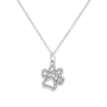 Diamond Paw Necklace in 14k White Gold with 28 Diamonds weighing .14ct tw.