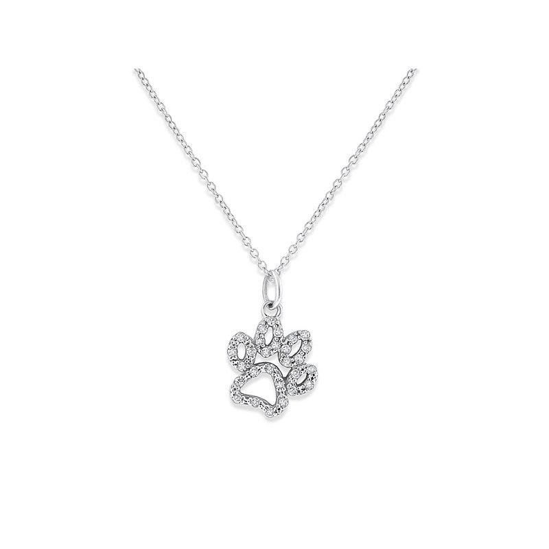 KC Designs Diamond Paw Necklace in 14k White Gold with 28 Diamonds weighing .14ct tw.