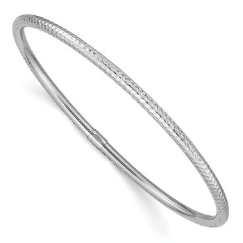 14k White Gold 3mm Diamond-cut Slip-on Bangle