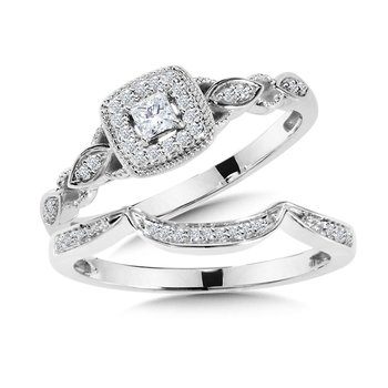 Princess-Cut Diamond Halo Engagement Ring and Wedding Band Bridal Set