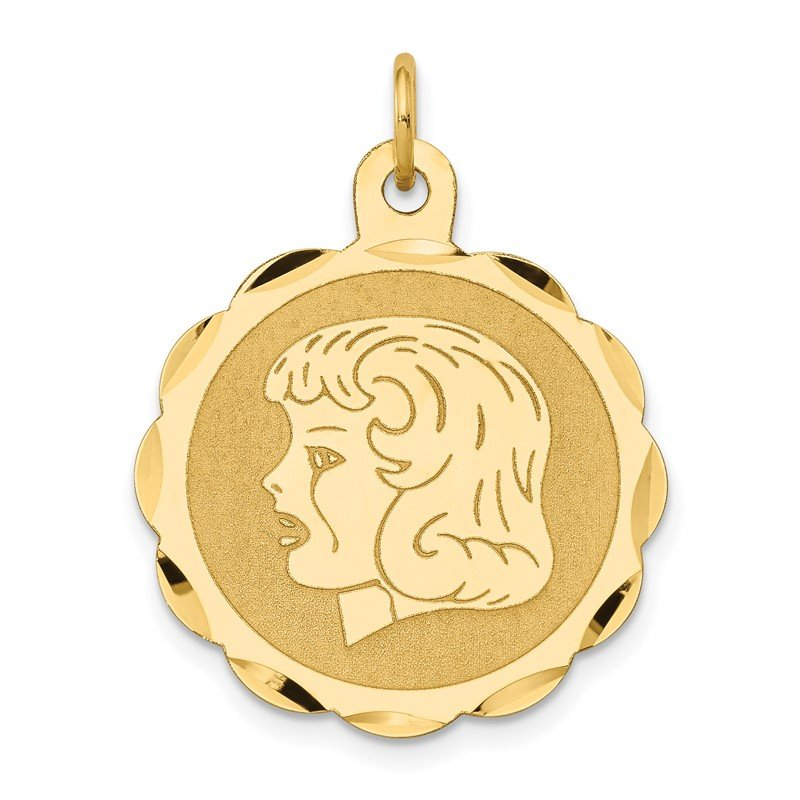 Quality Gold 14k Girl Head on .011 Gauge Engravable Scalloped Disc Charm