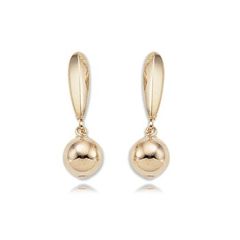14kt Yel 8m Ball Drop Lever Back Earrings