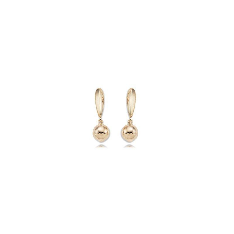 Carla 14kt Yel 8m Ball Drop Lever Back Earrings