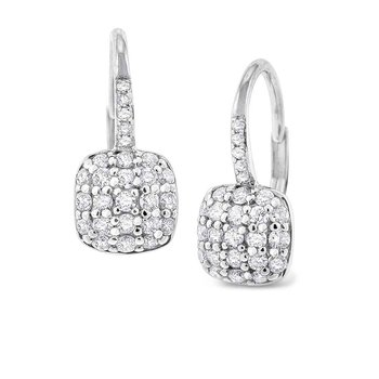Diamond Pave Cushion Shape Earrings in 14K White Gold with 52 Diamonds Weighing  .56ct tw