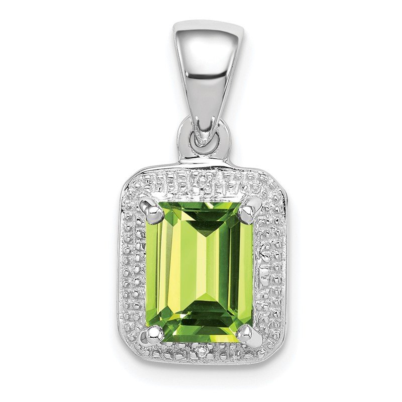 Quality Gold Sterling Silver Rhodium Emerald-cut Peridot & Diamond Pendant