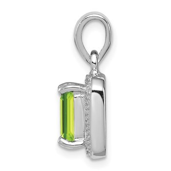 Sterling Silver Rhodium Emerald-cut Peridot & Diamond Pendant