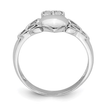 Sterling Silver Rhodium-plated Claddagh with Celtic Knots Ring