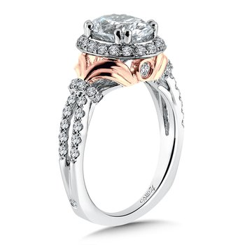 Oval Shape Halo Engagement Ring in 14K Rose and White Gold