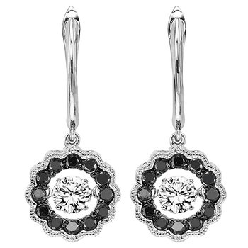 14K Black & White Diamond Rhythm Of Love Earrings 1/2 ctw