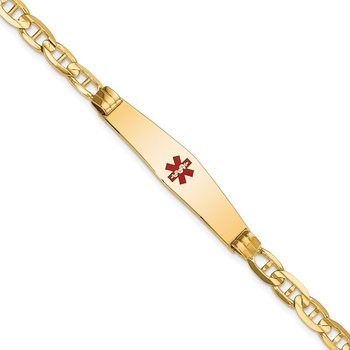 14K Medical Soft Diamond Shape Red Enamel Anchor ID Bracelet