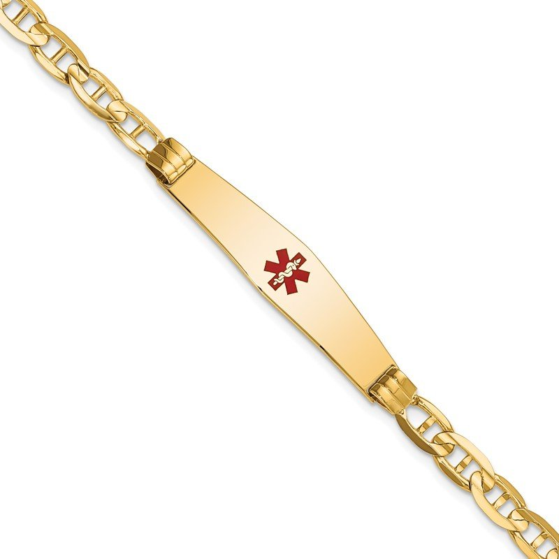 Quality Gold 14K Medical Soft Diamond Shape Red Enamel Anchor ID Bracelet