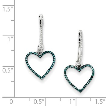 Sterling Silver Rhod Plated Blue and White Dia Heart Hinged Hoop Earrings