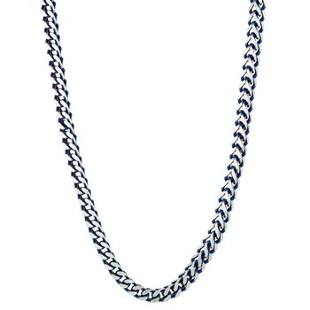 Stainless Steel Blue Ion Plated Thick Two Tone Foxtail Chain Necklace - 5 MM Wide, 18 Inches Length with Lobster Closure