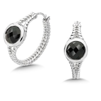 Sterling Silver Onyx Essentials Hoop Earrings