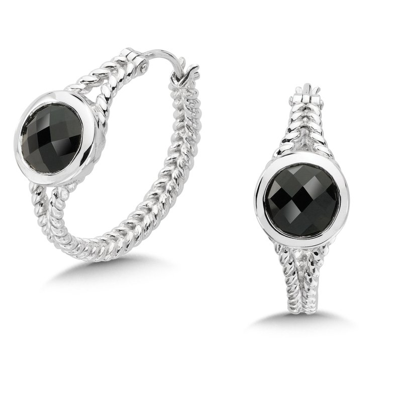 Colore Sg Sterling Silver Onyx Essentials Hoop Earrings