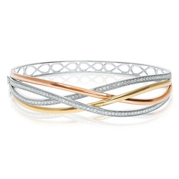 Tri-Colored Overlapping Diamond Bangle