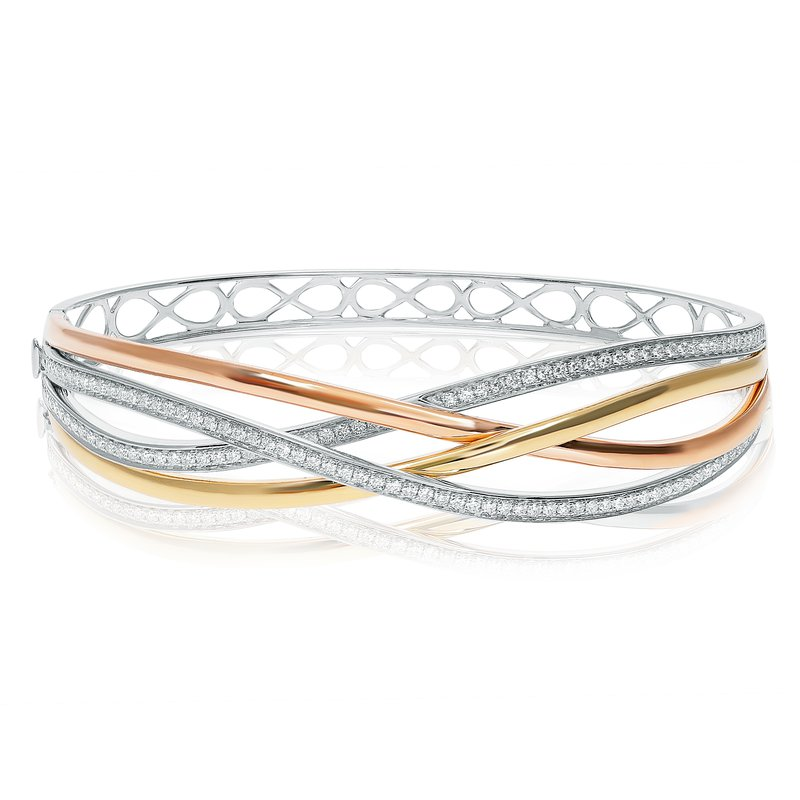 Roman & Jules Tri-Colored Overlapping Diamond Bangle