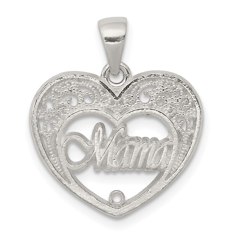 Quality Gold Sterling Silver Mama Heart Charm